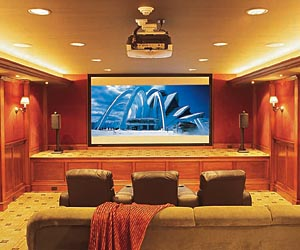 home theater with screen and plasma