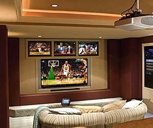 Big Screen Four TVs Highlight Hoops Haven