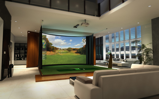 High def golf simulator doubles as home theater for Golf simulator room dimensions