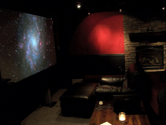 bedroom theater has projector and 110 inch screen