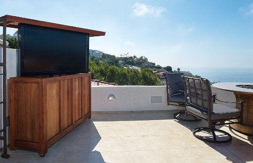 Scenic Roof Deck Even Better with Pop-up TV - Electronic House