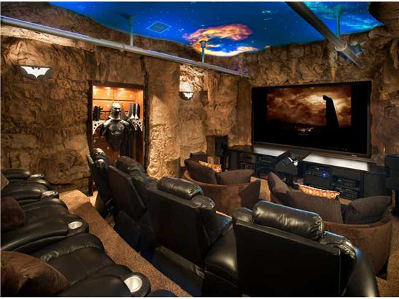 Basement with bar theatre and workout room traditional home