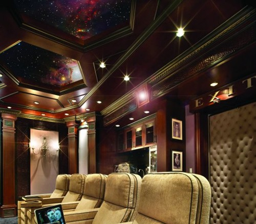 Theater Room With Hidden Projector: In This Theater, The Projector Is Built Into The Back Wall