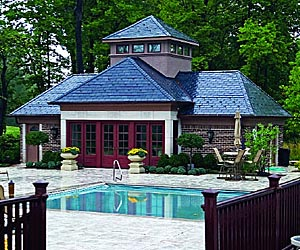 Outside shot of Joe Clayton's pool house